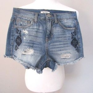 Mudd Distressed Cut Off Embroidered Jean Shorts